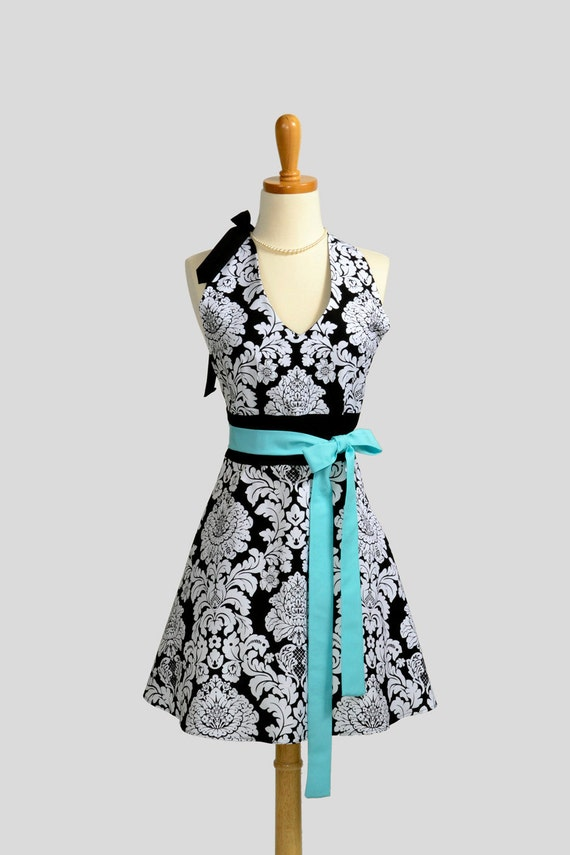 Womens Halter Hostess Apron / Black and White Damask with Tiffany Blue Tie for Accent