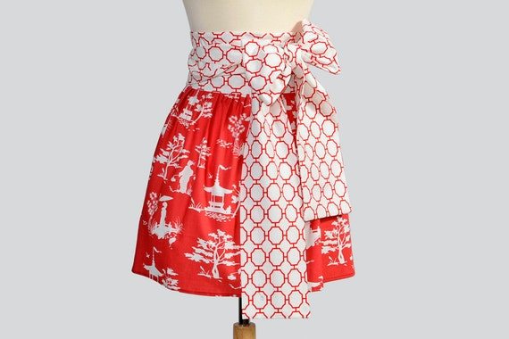 SALE 25% Off Waist  Half Apron / Womens Apron has Asian Influce in Obi Design Using Organic Fabrics in Red and White