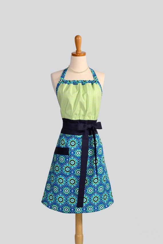Cute Kitsch Retro Apron / Handmade Full Womens Apron in Lime Green Dots atop Amy Butler Turquoise Medallion Lark Fabric from Amy Butler