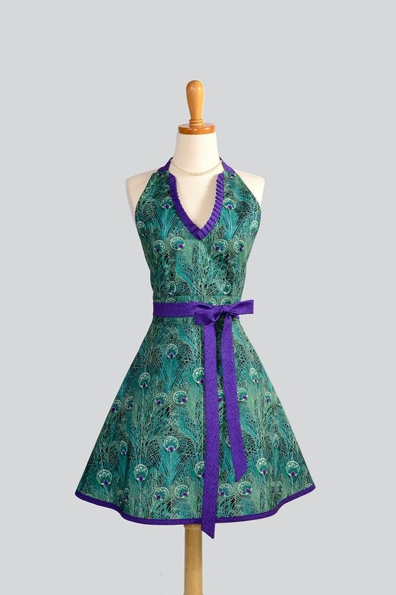 RESERVED for KITBENNETT3 Halter Womens Apron - Handmade Hostess Apron Asian Teal and Purple Peacock Plumes Full Kitchen Apron