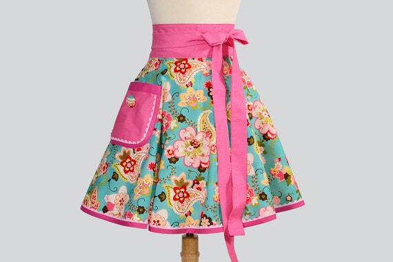 Waist  Half Apron / Retro Vintage Inspired Paisley Floral on Teal with Red Pink Plaid Ric Rac Trim Covered Button on Large Pocket