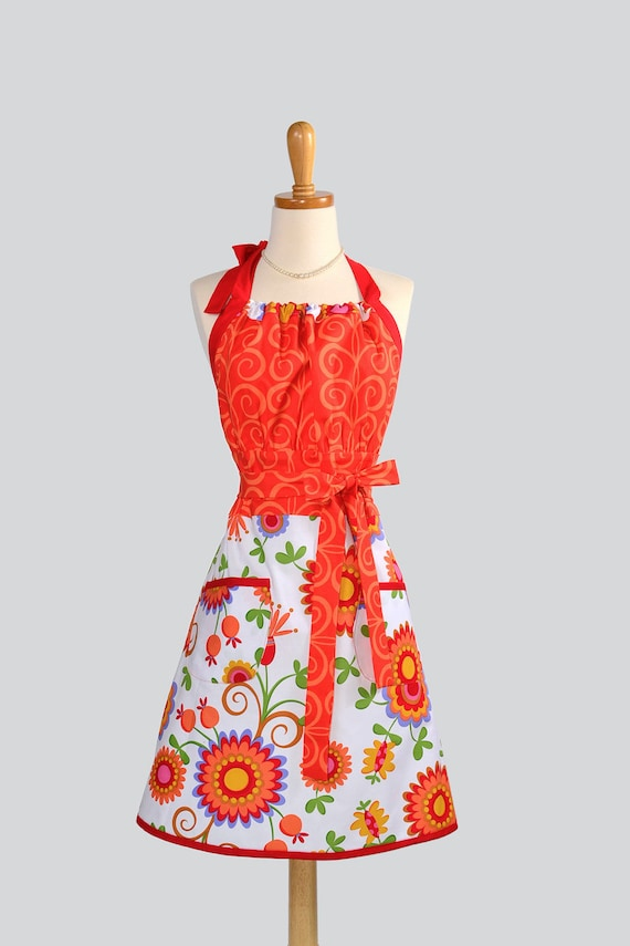 Cute Kitsch Apron / Handmade Retro Fabric Appeal in Orange Tendrils and Skirt in White with Orange and Red Floral