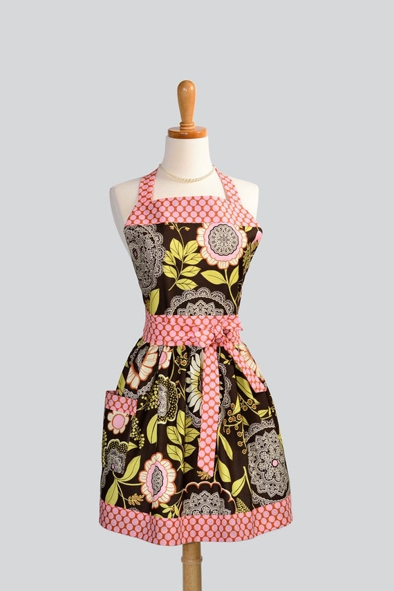 Womens Bib Full Apron - Handmade Amy Butler Lotus Lacework in Olive and Brown with Pink Dots Cute Kitchen Apron
