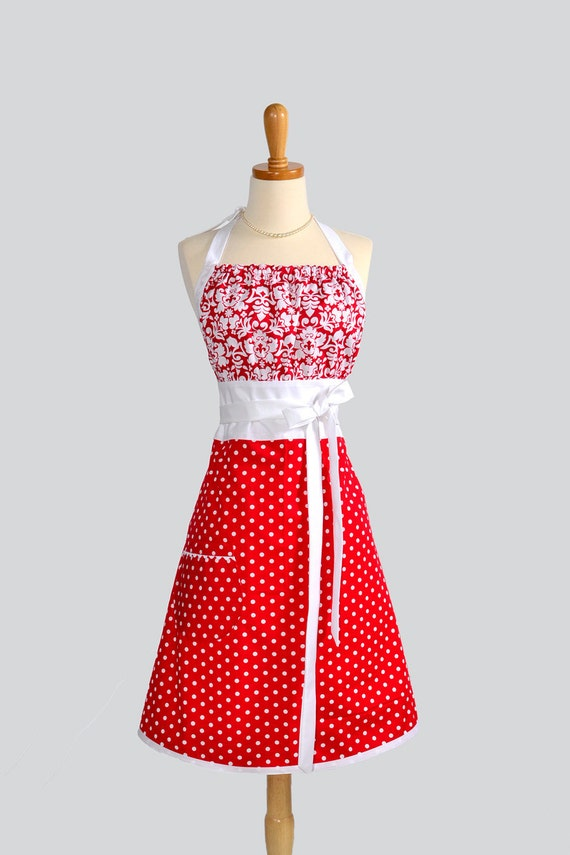 Cute Kitsch Apron - Red and White Damask with Red Polka Dot Skirt