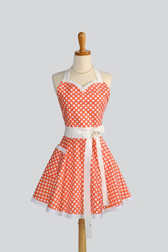 CUSTOM FOR MARIA Womens Flirty Sweetheart Apron / Womans Handmade Full Apron in Cute Orange and White Dots for the Retro Lover