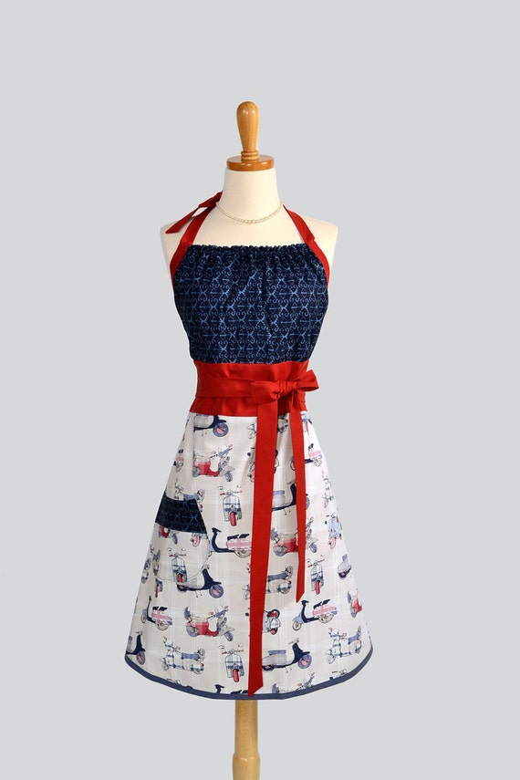 Cute Kitsch Retro Apron - Handmade Full Womens Apron in British Scooters and Vespa in Indigo Blue Ikat with Red Trim