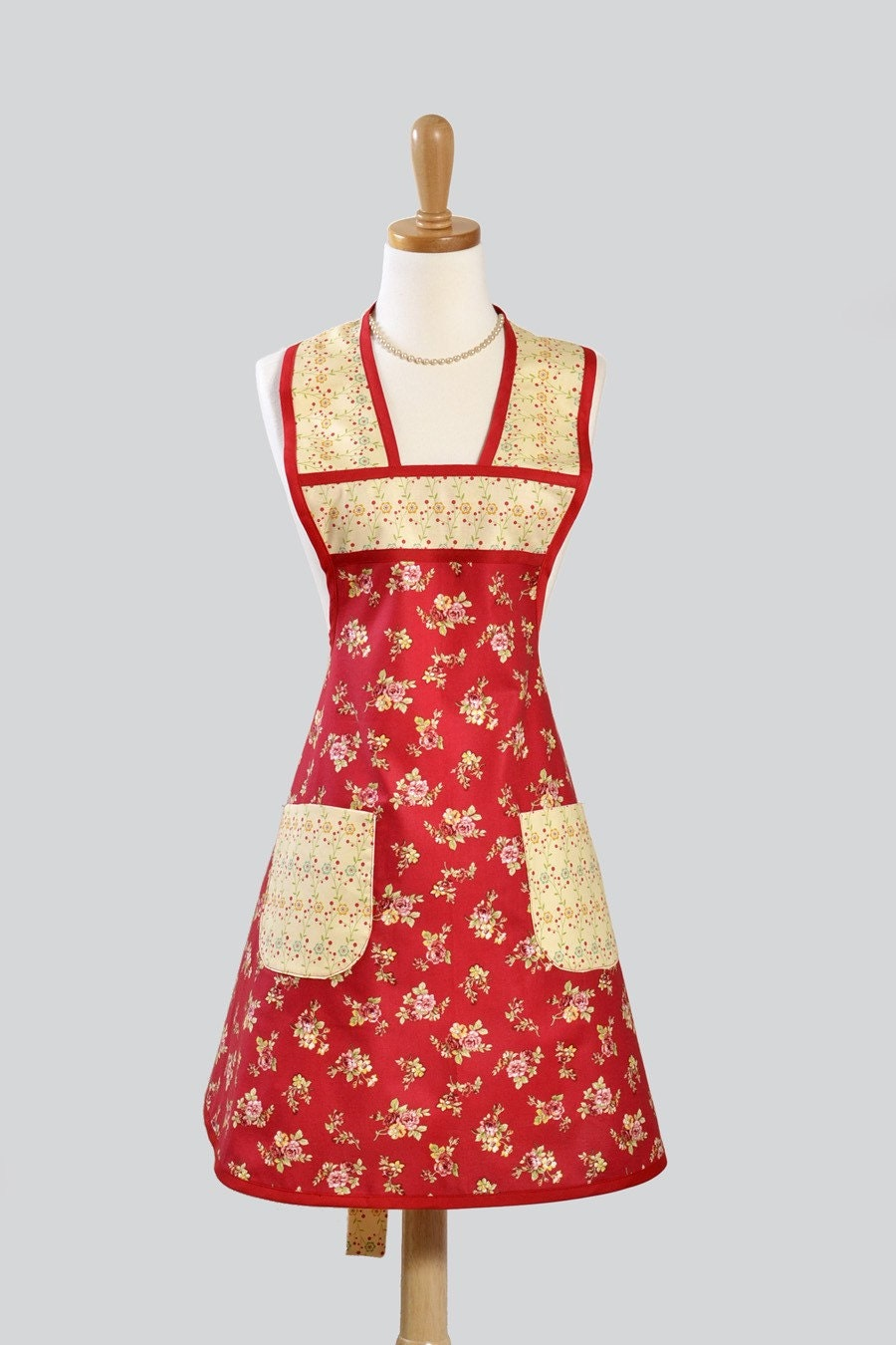 womens vintage inspired apron red is beautiful backdrop for. Black Bedroom Furniture Sets. Home Design Ideas