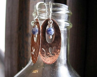 Copper Earrings with Sodalite