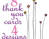 Pack of eight thank you mini cards