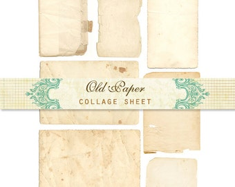Collage sheet old paper INSTANT DOWNLOAD