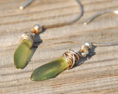 Silver Earrings with green beach glass