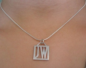 Two Initial Square Pendant in Sterling Silver | Sterling Silver Monogram Pendant | Sterling Silver Initial Necklace