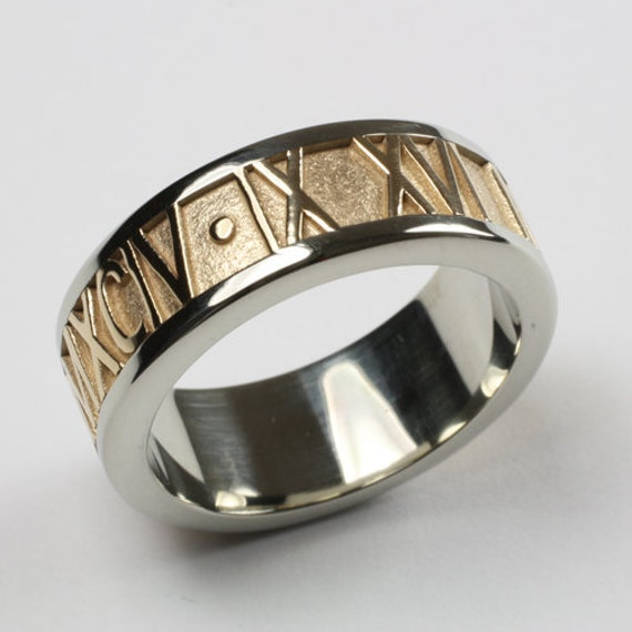 Personalized Roman Numeral Ring In Two Tone 14k By