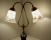 Antique Bedside Lamp with Dual Reverse Handpainted Shades
