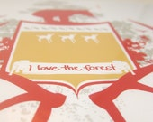 Print - I Love the Forest - Red Bear and Antlers