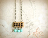 Wooden Pendant - Eight Black Chatons and Three Turquoise Glass Drops Necklace