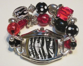 Sale red and black and zebra with silver accent beads double stranded interchangeable wath band includes zebra watch face.