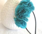 Handmade Teal  Flowered Pure Silk Headband