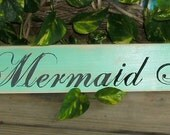 Mermaid Inn Wood Sign. Distressed. Turquoise. Great for a Beach Cottage.