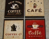 4 COFFEE CAFE WALL PLAQUES Pictures SIGNS. Kitchen or Restaurant Wall decor. SHIPS WITHIN 24 HRS.