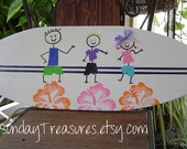 27 inch SURFBOARD Beach Sign.Your Kids painted on a SURFBOARD Wall art Beach Sign. Hawaiian Surf Wall Decor.150 Designs and 3 sizes. wow