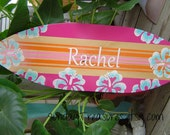 27 inch Surfboard. Wall art Beach Sign Surf Theme. Hawaiian Surfer Girl. PERSONALIZED  150 Designs and 3 sizes. Pink Orange Aqua