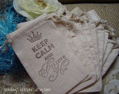 10 Pc KEEP CALM and Believe in HIM. 4x6 Muslin Drawstring Favor Candy Gift Goody Bags Birthday Baby Shower Wedding  3 day ship