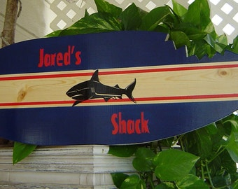27 inch SHARK SURFBOARD Wall art Beach Name Sign .PERSONALIZED Hawaiian Surf Wall Decor. Navy Custom Painted. 150 Designs and 3 sizes. wow