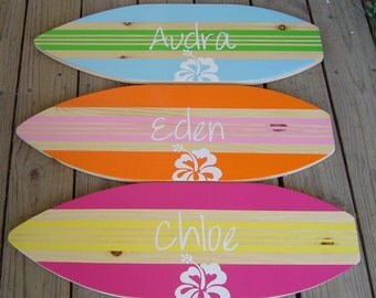 27 inch Personalized  Hibiscus Surfboard Wall art Beach Sign / Kids Surf Decor Girl Boy / Nursery / Lots Designs 2 sizes