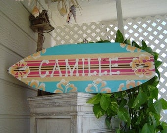 SALE 27 inch Personalized Hibiscus Surfboard Wall art Sign Hawaiian Wall Decor / All Hand Painted / Custom / Lots Designs 2 sizes