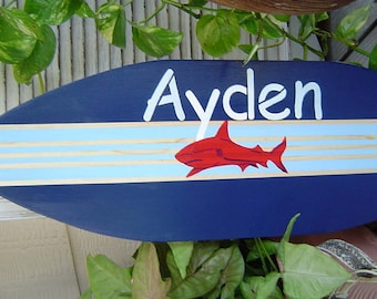 27 inch Shark SURFBOARD Wall art Beach Sign / PERSONALIZED Hawaiian Surf Wall Decor Custom Painted. Lots of Designs 2 sizes