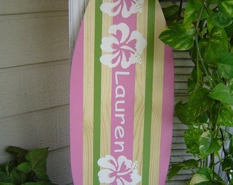 27 inch Personalized  Surfboard Beach Sign / Hawaiian Surf Wall Decor. Pink Green / Kids Nursery. Custom Painted / Lots Designs 2 Sizes SALE