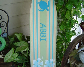 SALE 4FT Surfboard Hawaiian wall art decor --ALL HAND Painted--Room Decor. Headboard. Great sign in board. Lots Designs 2 Sizes