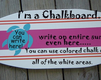 27 Inch SURFBOARD ChalkBoard  Message Memo Board. Pin Board Sign. Photo Board.Hawaiian Turtle Surf Beach wall art decor