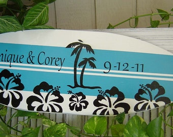 27 inch SURFBOARD Beach Wedding Alternative Guest Book. Hand Painted- PERSONALIZED. Turquoise Black  Sign Wall Decor / Lots Designs 2 Sizes.