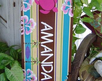 4FT SURFBOARD. All Hand Painted.  Tropical Hawaiian wall art decor WaLL Hanging.  Surf Theme Room. Headboard. 150 Designs 3 Sizes.