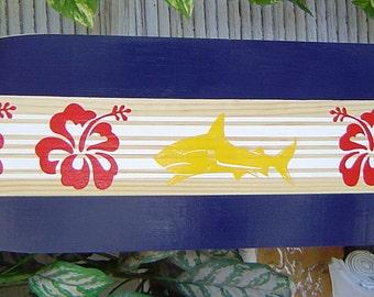 4FT  SHARK Surfboard Wall art Sign. Headboard / Kids Nursery / Hawaiian Surf Wall Decor. Lots Designs 2 Sizes.
