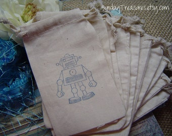 10 Pc ROBOT. 4x6 Muslin Drawstring Favor Candy Gift Goody Bags, Kids Boy Girl Birthday Baby Shower 3 day ship