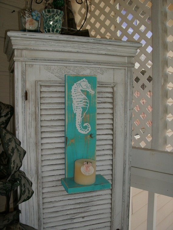 Seahorse Shelf Candle Sconce Distressed. Blue. Great for Beach Weddings or a Beach Cottage. My original design.  A timeless classic