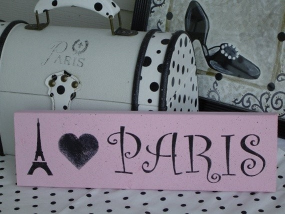 I heart Love Paris PINK black SiGN Wall Art French Chic Decor / Paris Apartment / READY To SHIP