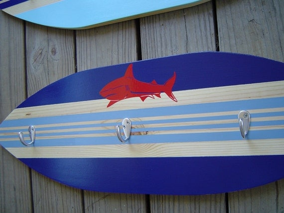 27 inch SHARK SURFBOARD HoOK RaCk for towels clothes keys .  Red Blue Hawaiian Surf Wall Decor. Custom Painted. 150 Designs 3 sizes. Sale