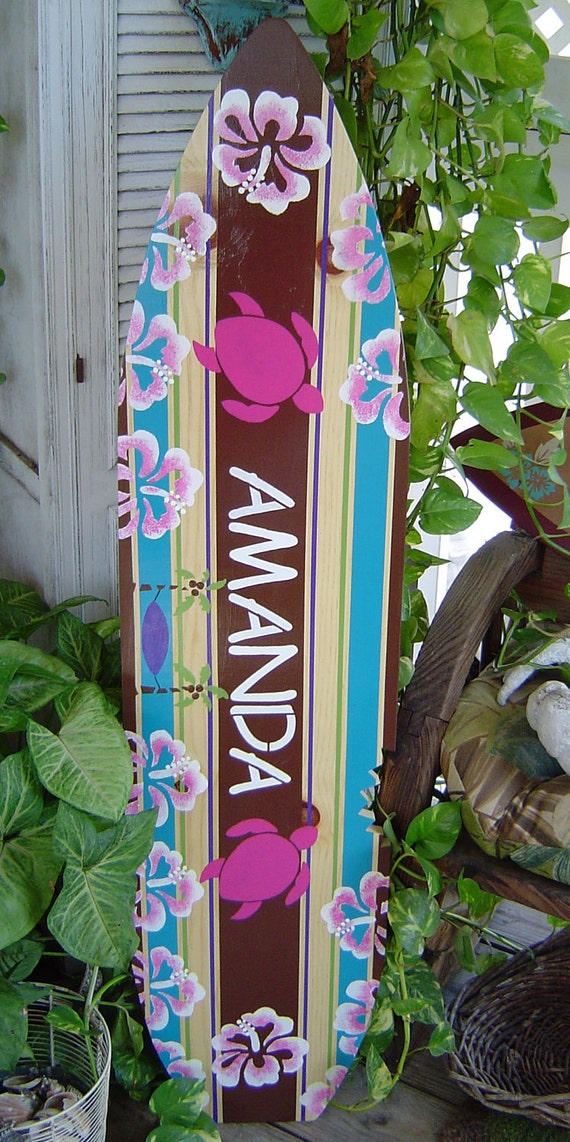 4FT SURFBOARD. All Hand Painted.  Tropical Hawaiian wall art decor WaLL Hanging.  Surf Theme Room. Headboard. 150 Designs 3 Sizes.