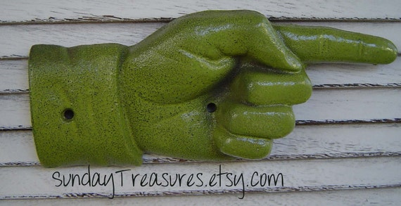 Avocado Green Pointing Hand / cast Iron / Metal Wall Decor / Sign / Wall Hanging / Directional Sign / Vintage / Ships in 3 Days / Pick Color