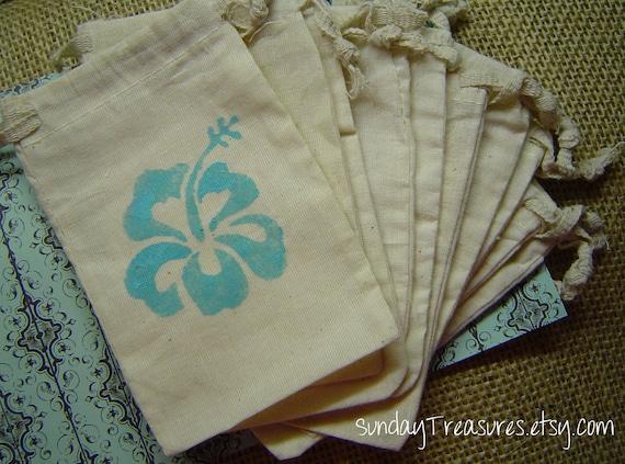 Blue Hibiscus Hawaiian Flower. 4x6 Muslin Drawstring Favor Candy Gift ...