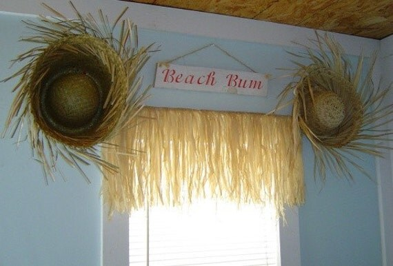 100 percent all Natural Raffia Grass Valance with 2 Beach Hats WINDOW TREATMENT. SHIPS WITHIN 24 HRS.