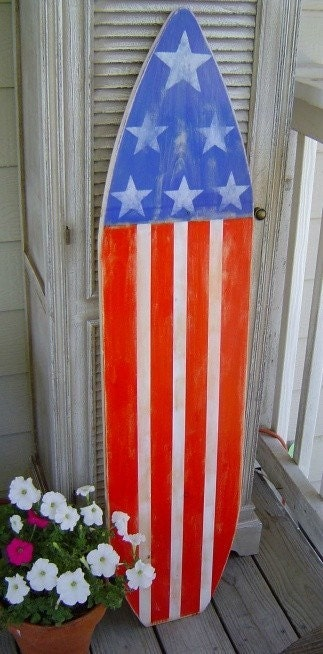 4ft Patriotic Americana Flag Sign Hawaiian Surf Beach Wall Art