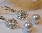 White Pearl and Silver Swarovski Crystal Prong Set Earrings