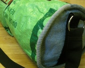 Fun ECO-FRIENDLY Yoga Pilates Gym Bag. 100 percent Upcycled - Lime-green color with FISH and WHALE