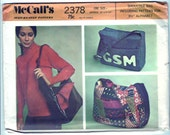 Vintage 1970 McCall's 2378 UNCUT Craft Sewing Pattern Shoulder Bag with Monogram - One Size