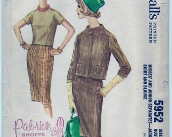 Vintage 1961 McCall's 5952 Sewing Pattern Misses' and Junior Separates Jacket, Skirt and Blouse Size 14 Bust 34